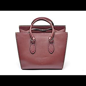 CELINE Burgundy Leather Handbag Tie Knot